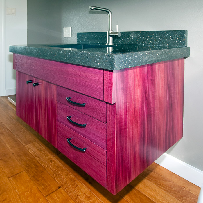Wood joint studio custom furniture cabinetry and hardware for Purple bathroom bin